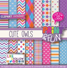 Cute Owls, Digital Paper, Patterns, Background, blue, pink, purple, orange, chevron, hearts, for party printables, invitations, scrapbooking