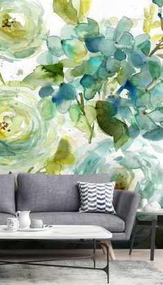 Stunning Cool Watercolor Floral wall mural from Wallsauce. This high quality Cool Watercolor Floral wallpaper is custom made to your dimensions. Easy to order and install plus free UK delivery. This Wall Mural - Cool Watercolor Floral Watercolor Floral Wallpaper, Watercolor Walls, Watercolor Pattern, Watercolor Flowers, Green Wallpaper, Room Wallpaper, Colorful Wallpaper, Wallpaper Murals, Wallpaper Designs