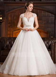 Ball-Gown Sweetheart Court Train Organza Tulle Lace Wedding Dress With Ruffle Beading Sequins (002056250) - JJsHouse
