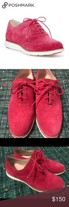 Cole Haan Original Grand Wingtip Oxford A menswear-inspired wingtip suede oxford styles an almond toe with brogue and topstitched detail.  Sizing: True to size.  - Almond wingtop toe - Brogue detail - Lace-up - Lightly padded footbed - Imported Cole Haan Shoes