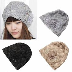 425857424fd Fashion Women Lady Girl Warm Winter Chiffon Lace Flower Beanie Hat Baggy Cap  New  Unbranded
