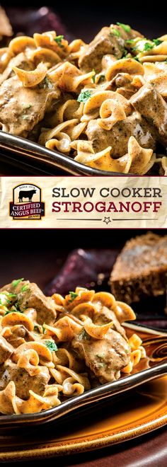 Certified Angus Beef®️️️️️ brand Slow Cooker Stroganoff is a CLASSIC recipe that you and your family will love. The best top round steak is cooked in the slow cooker for an EASY meal! Fresh shallots and mushrooms browned in the pan bring out the earthy, BOLD flavors of this simple pasta recipe.  This is a great supper meal.#affiliatelink