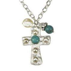 Silver Chain with Pearl Turquoise Cross
