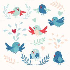 Cute birds vector card set - Illustrations