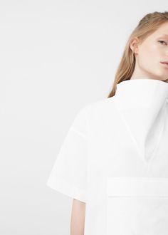 Premium - popeline-bluse mit tasche | MANGO