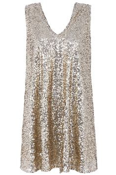 Bowknot Embellished Sleeveless Gold Sequined Dress