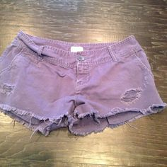 •Purple Shorts• Factory distressed shorts. 100% cotton. Small stain on front shown in picture 3. Mossimo Supply Co. Shorts