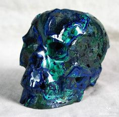 It usually occurs with green Malachite, which may form green stains or specks on Azurite crystals or aggregates. Description from skullis.com. I searched for this on bing.com/images