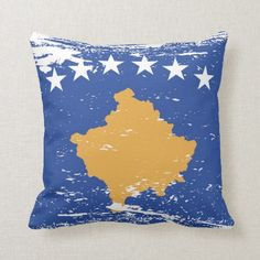 Shop Grunge Kosovo Flag Throw Pillow created by electrosky. Kosovo Flag, Political Events, National Flag, Custom Pillows, Flags, Colorful Backgrounds, Personalized Gifts, Create Your Own, Oriental