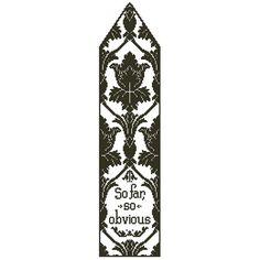 "Sherlock Holmes ""So Far, So Obvious"" Cross Stitch Bookmark Chart/Pattern. $4.50, via Etsy."