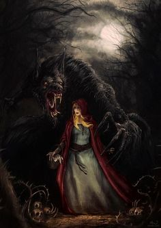dariojart.deviantart.com... is she his lunch or are they friends I wonder. the werewolf was a half man that changed only at night .. stories were made up to keep the children in at night make them careful and sell books.. since a German invented the printing press