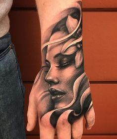 60 Eye-Catching Tattoos on Hand 60 Eye-Catching Tattoos on Hand Portrait hand tattoo - 60 Eye-Catching Tattoos on Hand Tattoo Girls, Hand Tattoos For Girls, Girl Face Tattoo, Girl Tattoos, Tattoos For Guys, Portrait Tattoos, Tatoos, Hand Eye Tattoo, Tiger Hand Tattoo