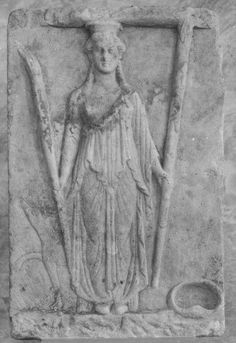 Hekate, votive relief statue - from ancient Thera - at the Museum of Athens