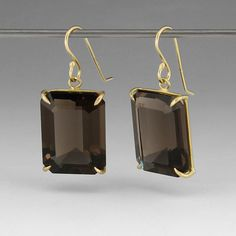 "18k gold medium faceted emerald cut smokey topaz earrings. Earrings are 1"" from the ear wire to the bottom and 0.5"" wide."