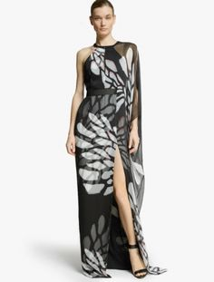 Asymmetric Printed Chiffon Gown - LOVE this!
