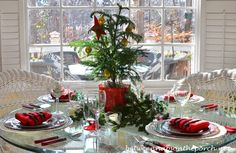 Christmas Table Setting Tablescape with Spode Christmas Tree Garland and a Christmas Tree Napkin Fold