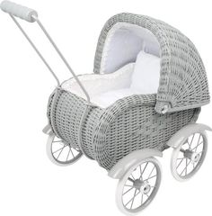Grey wicker dolls pram, a gorgeous collection of wicker and wooden dolls pram Cottage Toys UK Boy Baby Doll, Baby Doll Toys, Pram Toys, Dolls Prams, Childrens Dolls, Doll Beds, Ride On Toys, Baby Kind, Vintage Dolls