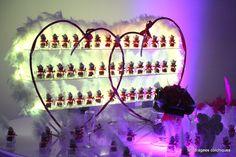 Porte dragées mariage en forme de double coeur
