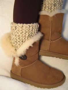 CHUNKY KNIT - Hand knit boot toppers, boot cuffs, boot buffers, leg warmers. Oatmeal Tweed. Ready To Ship.. $26.00, via Etsy.