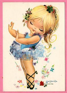 Vintage postcard from the 70s. Sweet little ballerina by illustrator Gallarda.