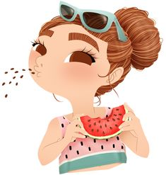 Anna Lubinski - Illustration - Cartoon portrait - Character design - Summer essentials - She is eating a watermelon. She is wearing a watermelon printed tank top and blue sunglasses. Her hair are in a bun.