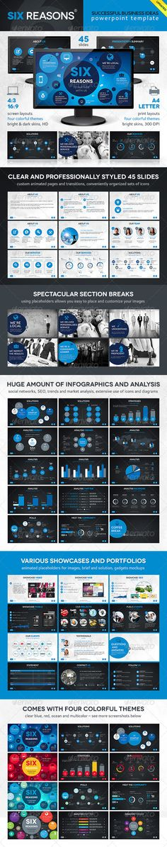 Six Template - Powerpoint Templates Presentation Templates PowerPoint presentation template with non-default graphs and charts. That's an easy way to stand out from the crowd