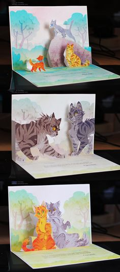 Sweet pop-up warrior cats book Warrior Cats Fan Art, Warrior Cats Series, Warrior Cats Books, Warrior Cat Drawings, Love Warriors, Warriors Game, Female Warriors, Kraken, Cat Art