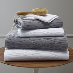 "Organic Woodgrain Towel | west elm--If you're looking for organic bath towels with a little bit of textural flare, these organic cotton ""woodgrain"" bath towels bring the natural tree-ring pattern to your bathroom."