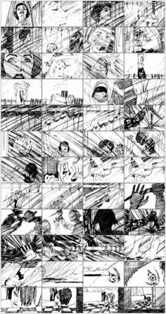 Storyboard sequence from the shower scene in ''Psycho''.