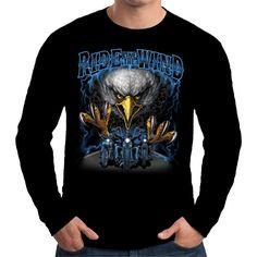 Velocitee Mens Long Sleeve T Shirt Ride Like The Wind Biker Bobber Harley W15185 #Velocitee
