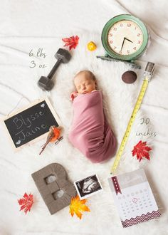 Newborn announcement by Kristen Smith New Beginnings Photography