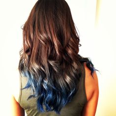 my blue ombre hair! #blueombre #ombre #haircolor #highlights brown to blue ombre hairstyle