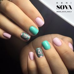 Hot Trendy Nail Art Designs that You Will Love Aztec Nail Designs, Colorful Nail Designs, Nail Art Designs, Gelish Nails, Nail Manicure, Girls Nails, Pink Nails, Nails 2017 Trends, Aztec Nails