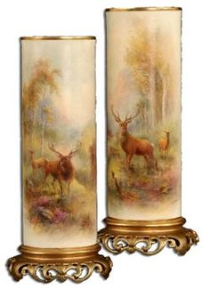 Antique Marks - Royal Worcester pair of harry stinton stag  vases