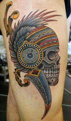 Native Skull (2) Tattoo By Phatt German
