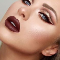 Fun fact: used our Liquid Suede Cream Lipstick in 'Club Hopper' for her eyeliner and lips! Burgundy Makeup, Red Makeup, Glam Makeup, Bridal Makeup, Beauty Makeup, Pretty Makeup, Hair Beauty, Taupe Eyeshadow, Glitter Eyeshadow