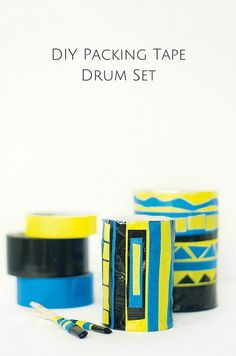 DIY Packing Tape Drum Set. Use simple recycled materials to make this fun and modern drum set for kids that actually sounds pretty good when played!