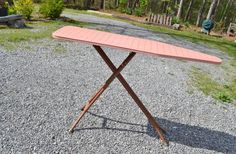 Vintage Ironing Board Metal Pink Brown Retro Laundry Decor