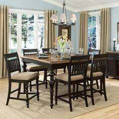 Legacy Classic Furniture Highland Hills Rectangular To Square 7 Piece Pub Dining Table Set in Distressed Oak/Black