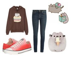 """""""pusheen outfit contest"""" by kalisplayer on Polyvore featuring Pusheen, Yves Saint Laurent and Converse"""