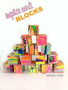 DIY Spin Art Kids Wooden Building Blocks - Homegrown Friends