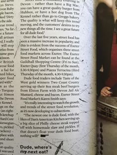 """In Crumbs Devon """"Dude Food"""" feature we had a great mention among other delicious local traders."""