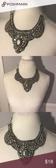 Silver Beaded Statement Necklace. Felt back Silver Beaded Statement Necklace. Felt back Jewelry Necklaces