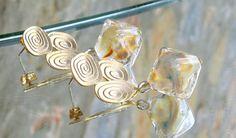 Lampwork Earrings Romantic, Pastel Icy Winter Fashion, Glittering Handmade Lampwork Jewelry for Her
