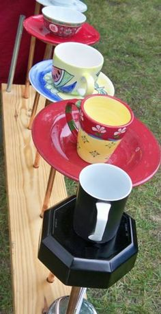 Recycling tea cups & saucers for bird feeders