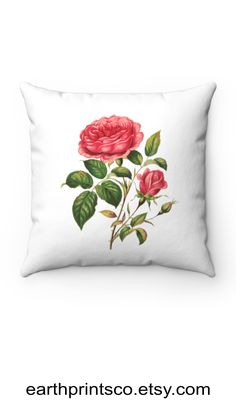 """Floral throw pillow cover / botanical throw pillowcase / Rose flower cover for accent pillows ✻ Pillow cover / Pillowcase ✻ floral botanical design ✻ Rose flower print ✻ Available 4 sizes: 14""""x14"""", 16""""x16"""", 18""""x18"""", 20""""x20"""" ✻ Pillow is not included ✻ 100% Polyester ✻ Double-sided print ✻ Concealed zipper Square Pillow Covers, Throw Pillow Covers, Pillow Cases, Floral Throw Pillows, Accent Pillows, Zipper, Flower, Rose, Design"""