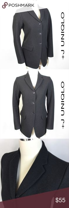 """Wool Equestrian Riding 3 Button Blazer Coat 520 Uniqlo x Jil Sander +J Wool Blend Blazer Coat Equestrian Riding 3 Button Lined Back Vent Welt Pockets Fully Lined Size: M Medium Shoulder: 15"""" Sleeves: 23.5"""" Armpit to Armpit: 18.5""""  Length: 27"""" Condition:  Very Good Comes from a pet and smoke free environment! Color: Black Material: 90% Wool, 10% Nylon - soft and has lots of integrity. Country: China Care: Dry Clean   WT: 1.11 MFR SKU: 520; PC All measurements are taken laying flat and are…"""