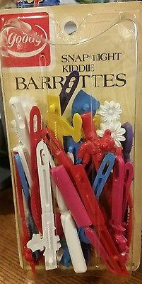 Vintage Goody kiddie Barrettes 1975, 82 Set of 30 Snap Tight self hinge retro