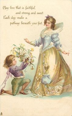 page on bended knee offers flowers to lady