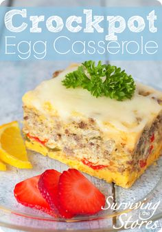 Throw this delicious egg casserole into the crockpot at night and wake up to breakfast ready to go! This recipe works great for those on gluten free, low carb and Trim Healthy Mama diets!